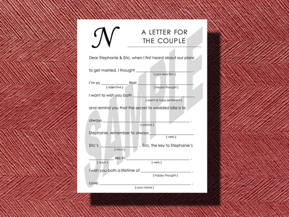 Simple Wedding Mad Libs A fun Guest Book Alternative