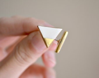 Triangle - gold tip ivory triangle earrings - geometric ceramic earrings posts studs - Jasmin Blanc jewelry