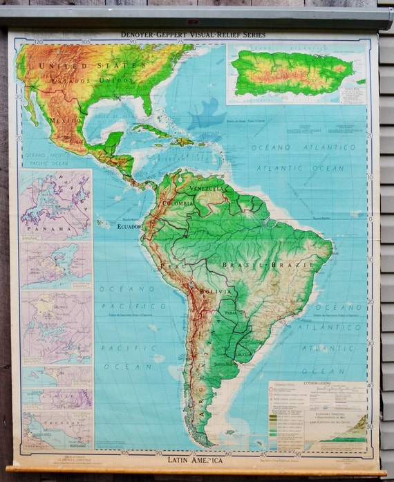 Latin america map denoyer geppert visual relief pull down for South american decor