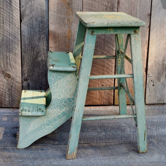 Light Green Step Stool Wooden Fold Out Steps Kitchen Stool