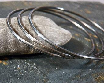 Sterling Silver Bangles - 12  gauge - Artisan Handcrafted Bracelets