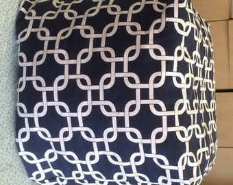 Navy Blue and White Gotcha Ottoman Pouf Cover Teen Room, Living Room Nursery Room Filling Included