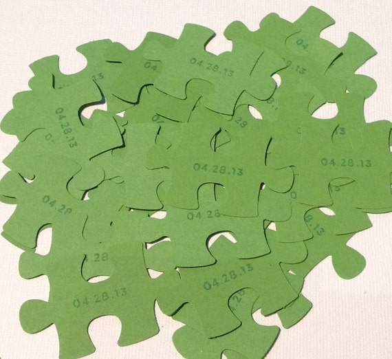 Perfect match puzzle piece confetti wedding table for Decoration or embellishment crossword