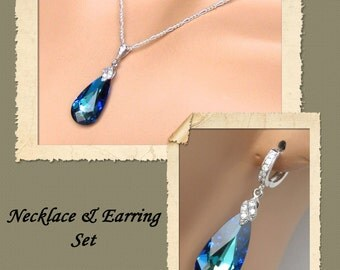 Bermuda Blue Necklace and Earrings Set, Bridal Jewelry Set, Bridesmaids Jewelry Set