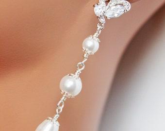 Cubic Zirconia Wedding Earrings, Long Pearl Drop Bridal Earrings, Rhinestone Bridesmaid Earrings, Bridal Accessories, Mother of the Bride
