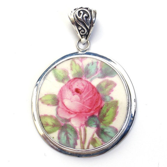 Broken China Jewelry Copeland Spode Jewel Billingsley Rose Pink Rose Sterling Pendant