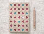 Valentines Gift For Him, For Her - Journal with Pencil - Hearts & Lock, Ecofriendly Mini Journal - Unique, Stocking Stuffer