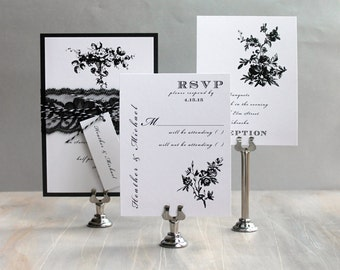 "Black and White Wedding Invitations, Lace Wedding Invites, Modern Wedding, Elegant Invitation, Classic Wedding, ""All Black"" Sample"