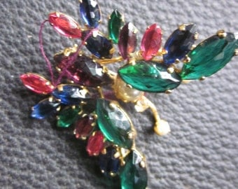 rhinestone butterfly pin, brooch, moveable wings, colored stones vintage jewelry