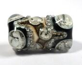 Black, Ivory and White handmade lampwork focal bead