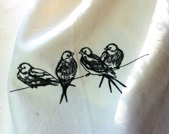 Silhouette swallows birds on a line embroidered heavy cotton towel