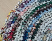 Round Crocheted Rag Rug Multi Colored
