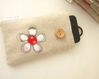 Embroidered vintage sheet flower and linen smartphone/ iphone / gadget case
