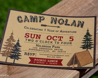 Camp birthday invitation Camper