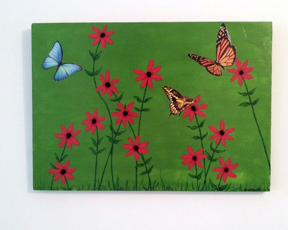 Folk Art Painting Wildflowers and Butterflies