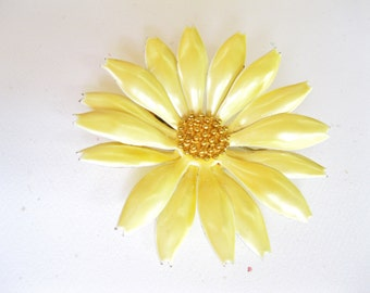 Yellow Enamel Flower Brooch Vintage Lemon Chiffon