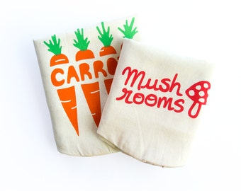 SET OF 2: Carrots, Mushrooms. Handmade reusable eco storage food bags. Hemp organic cotton tote. Eco shopping bags. Foodie gift. Cooking.