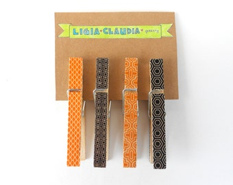 Orange and Black Washi Tape Clothespins Set of Four