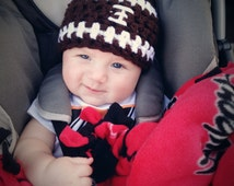 RUSH Baby Boy Football Hat Newborn Baby Crochet Sports Beanie Boy Girl Team Colors Available