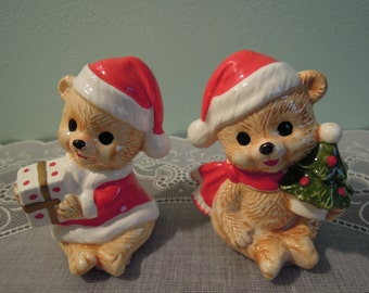 Vintage George Good Christmas Bears Salt & Pepper Shaker Set - George Good Shakers - Christmas Bears Shakers - Vintage Salt Pepper Shakers