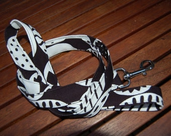 Handmade Marimekko Kompotti Canvas Dog Leash, Finland black  white
