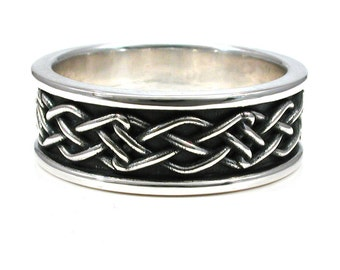 mens celtic knot ring rectangle knot sterling silver engagement - Gear Wedding Ring