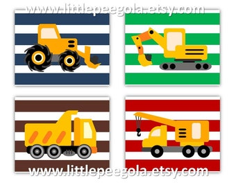 "Construction Art // Construction Nursery Wall Art // Construction Trucks Art for Kids // Dump Truck Wall Art 3-8""x10"" PRINTS ONLY"
