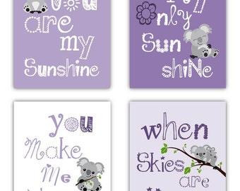 Purple Nursery Decor // Koala Art For Kids // You Are My Sunshine Art // Lavender Nursery Art // Purple Art Kids Room // Four PRINTS ONLY