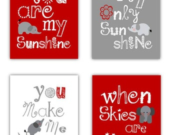 Elephant Art // Red Nursery Decor // You Are My Sunshine Decor // Red and Gray Art Prints // Red Wall Art for Kids // 4 PRINTS ONLY