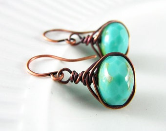 Copper Wire Wrap Jewelry Turquoise Wire Wrapped Earrings Copper Earrings