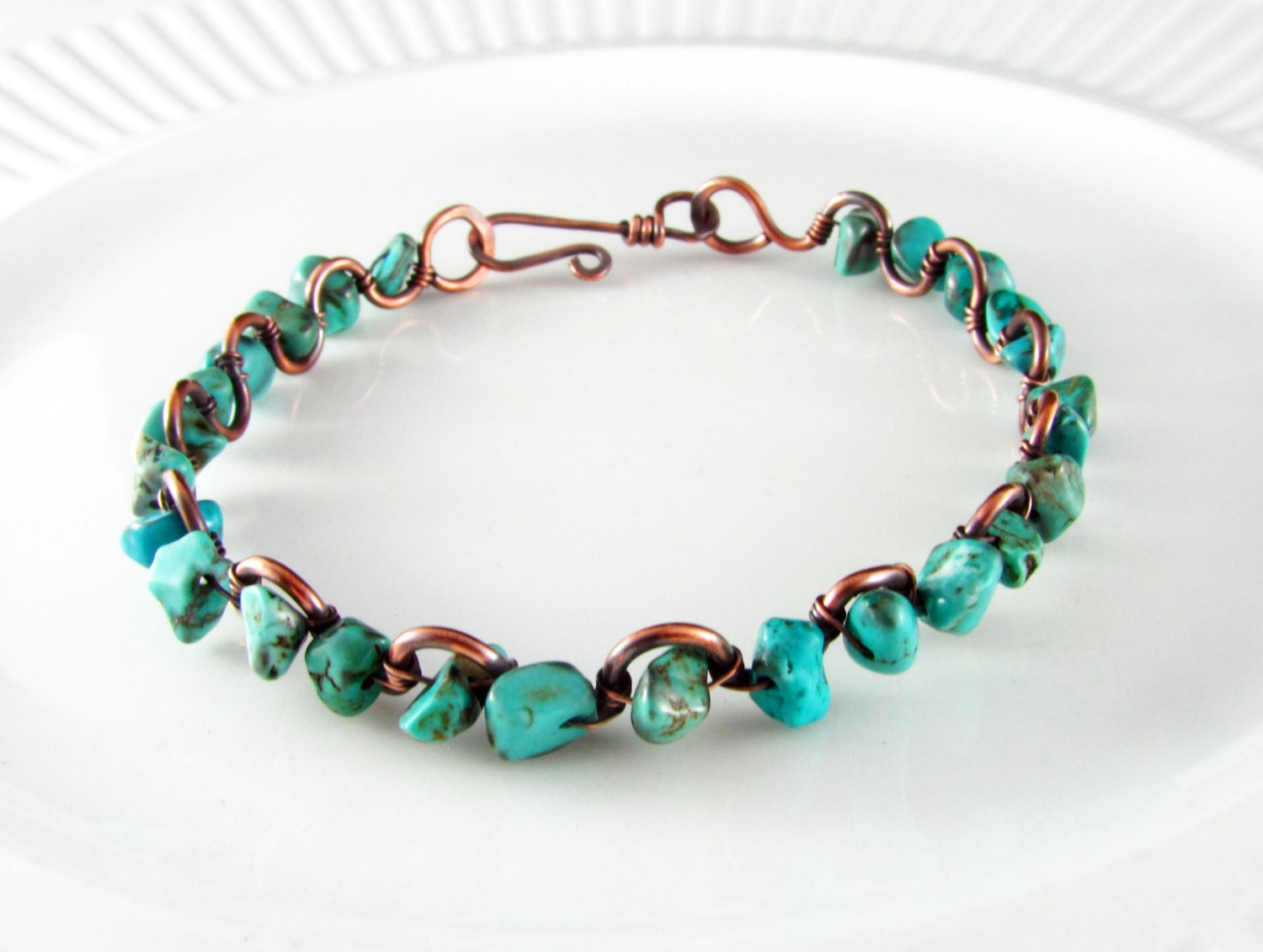 wire wrapped bracelet turquoise and copper bracelet wire