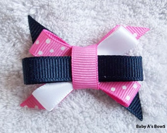 Bright Pink and Navy Polka Dot Itty Bitty Bow, M2M Gymboree
