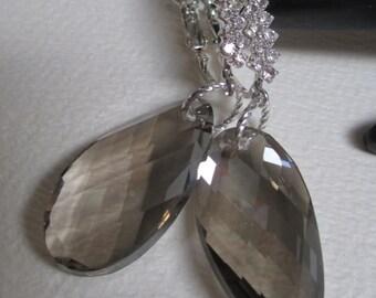 Smoky Crystal Prism Earrings Silver Tone Rhinestones