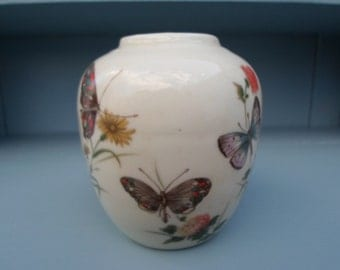 Vintage 1960s Takahashi Hand Decorated Ginger Jar No Top DEW Japan Butterflies Flowers