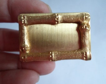 Vintage Metal Gold Tone Asian Inspired Matchbook Holders Bamboo Looking 1950s to 1960s Repurpose or Use Brass