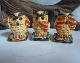 Vintage trio of three owls hear no evil speak no evil see no evil by gabriele 39 z peru miniature - Hear no evil owls ceramic ...