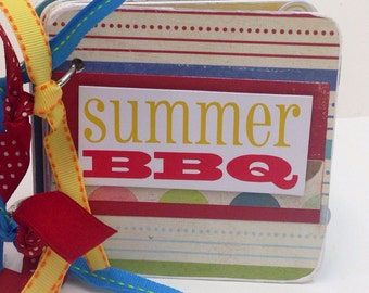 Summer bbq  Mini Scrapbook Album swim premade chipboard pages picnic 4th of July