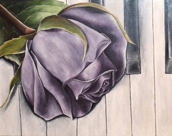 "Already Made Payment Plan Available 31x23x1.5"" Original Modern Realistic Purple Rose on Piano Keys Painting By Alisha"