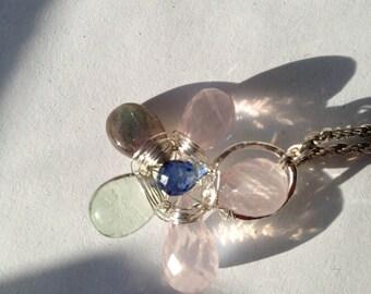 Rose Quartz, Labradorite, Kyanite, Flourite, Silver Pendant, Lilyb444, Nature Inspired jewelry,