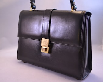 Vintage Black Handbag or Purse Marchioness Made in Canada Vegan Handbag Faux Leather Purse Womens Anniversary or Birthday Gift for Her