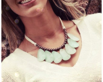 Teardrop Statement Necklace in Mint