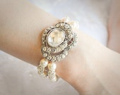 Victorian Style Bridal Bracelet, Swarovski Pearl Wedding Bracelet, Oval Crystal Rhinestone Statement Bracelet Cuff, Art Deco Jewelry, VONDA