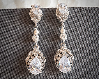 Bridal Earrings, Wedding Jewelry, Swarovski Pearl and Rhinestone Crystal Wedding Earrings, Lace Teardrop Chandelier Dangle Earrings, TALLIS