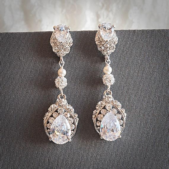 Favoloso Orecchini da sposa gioielli da sposa Swarovski perle e NM49