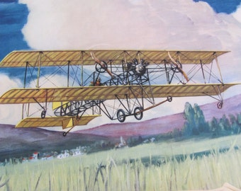 Vintage Early Century Airplane Poster Print - Charles Hubbell - The Caproni 1909