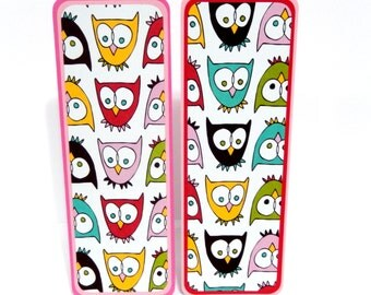 Paper Bookmarks- Owls: Set of 2- approx. 2 1/2 x 7 inches