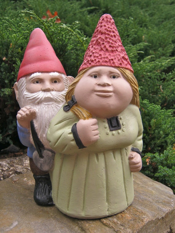 Gnome In Garden: Gnome Couple Garden Gnomes Gnome Statue Outdoor Gnome Gnome