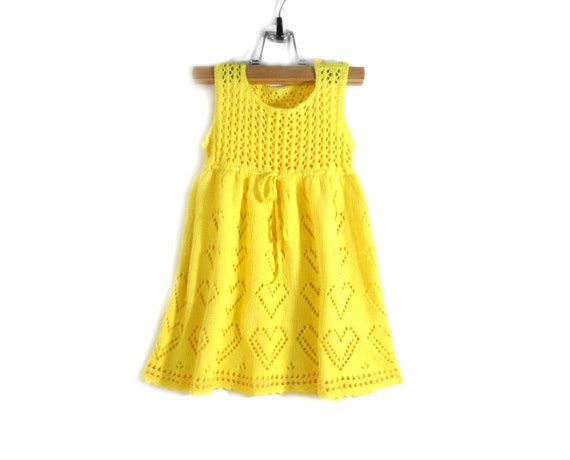 Knitted Baby Dress - Yellow, 6 - 12 months