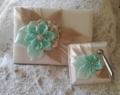 Wedding Guest Book and Pen Set iin Ivory, Peppermint Green and Pastel Green With Taupe Accents, Country Chic, Rustic Elegance Wedding