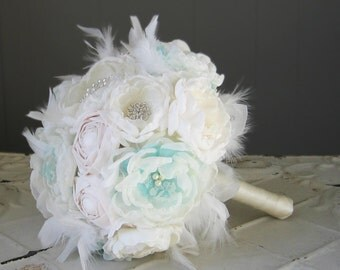 Fabric flower brooch bouquet . White, blue, aqua, ocean, ice. Custom made order any color theme